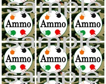 Ammo Paintball Camouflage Party Tags DIY Printable File - Instant Download