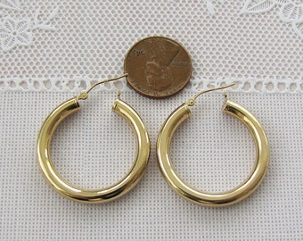 4MM thick 14K Gold Hollow Hoop Earrings, 30mm in diameter, gift for her