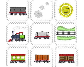 """Memory game Train """"In The Hoop"""" - machine embroidery applique design - for 4x4, 5x7 and 6x10 INSTANT DOWNLOAD"""