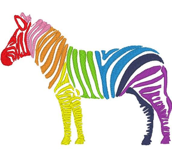 Rainbow zebra machine embroidery designs