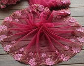 2 Yards Lace Trim Flower Embroidered Wine Red Tulle Lace Trim 9.44 Inches Wide High Quality