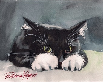 Print of the Original Watercolor Painting Tuxedo Cat  Picture Black and White Cat Kitty Kitten Sneaky