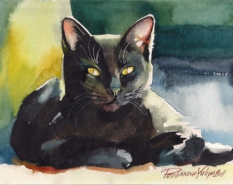 Print of the Original Watercolor Painting Black Cat Picture Kitty Kitten Sweet Halloween