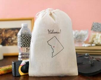 Washington DC Wedding Welcome Bags - Washington DC Welcome Bags - State Outline Favor bags - Welcome Bags - Destination Wedding Welcome Bags