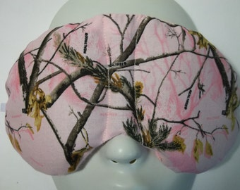 Herbal Hot/Cold Therapy Sleep Mask with adjustable and removable strap Pink Real Tree Camo