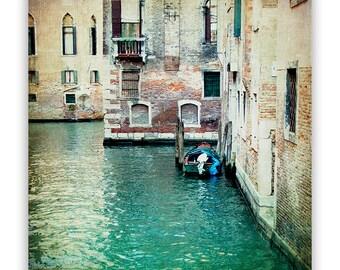 """Venice Canal Photography, Italy photos, teal green, tranquil aqua decor, Venice decor, Venice canals - """"Aqua"""" - Fine Art Photograph"""