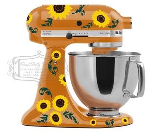 Kitchen mixer vinyl decal set SUNFLOWERS with flourish leaves - kitchen mixer decal - Sunflower decal - sunflower mixer