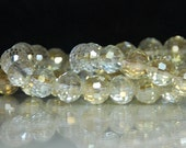 12 pcs 8mm Transparent Pale Pale Yellow Multi-Faceted Round Crystal Beads