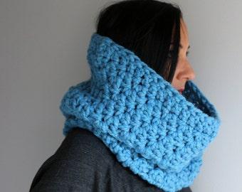 Cozy Wool Blend Baby Blue Bella Cowl, Baby Blue Neck Warmer, Winter Fashion Accessories