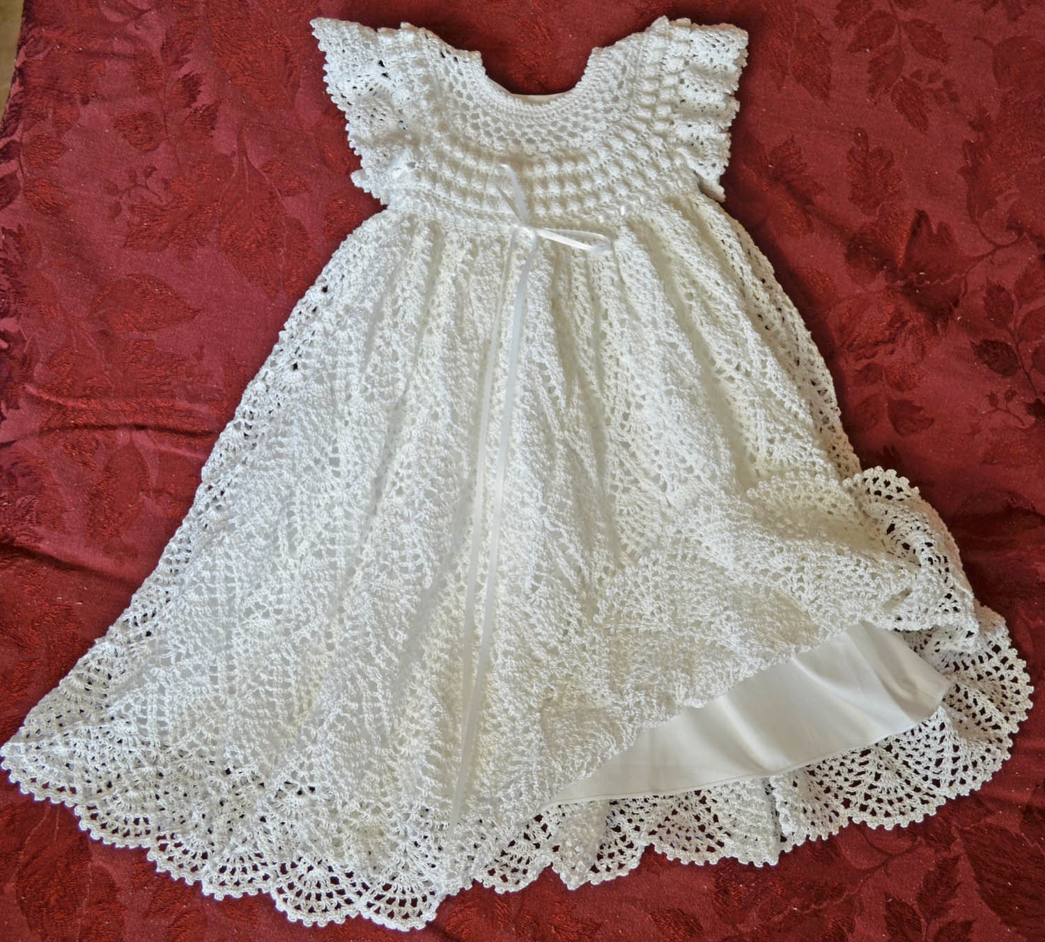 White Christening Blessing Gown with Slip Baby Dress