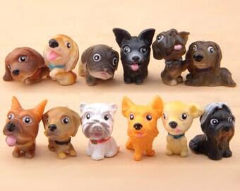 12 pcs  25 mm  Resin  Dog Series  Mininature Figurine/Terrarium Figurine