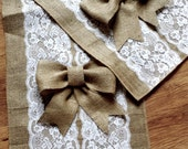 Custom made wedding table runner , lace and burlap runner with bows, burlap bows