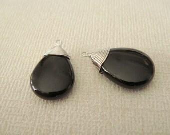 Jewelry Supplies, Silver Black Teardrop Pendant, Onyx black Drop, Pink Stone,  2 pc, PZ7594SM