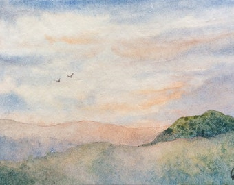Original Watercolor Painting ACEO - Bathed in sunlight