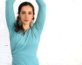 Medium Wrap Shirt Longsleeve Yoga Top Turquoise