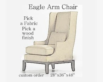 Custom Eagle Wing Back Chair Mid Century Style Select your fabric Home Decor  Velvet