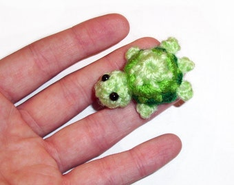 Micro Mini Crochet Turtle Plushie - 1.25 inch Green Tortoise Stuffed Animal, Made To Order