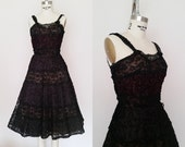 Vintage 1950s Cocktail Dress / Black Silk Lace / Henry A Conder / XS