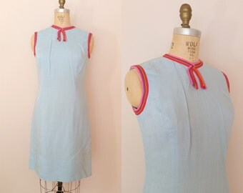 1960s Dress // Ready Steady Go! Dress // Vintage 60s Blue Linen Dress // Medium