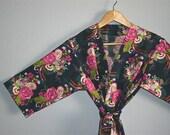 Kimono Robe. Bridesmaid Robes. Dressing Gown. Kimono. Wish Treasure Patience. KNEE and MID CALF Length. Small thru Plus Size Kimono Robes.
