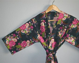 Blue Kimono Robe. Blue Bridesmaid Robes. Dressing Gown. Navy Kimono. Wish Patience Love. Small thru Plus Size Kimono Robes.