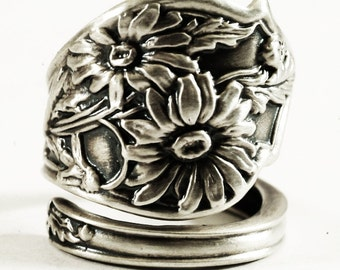Daisy Ring, Sterling Silver Spoon Ring, Flower Spoon Ring, Angular Daisy Flower, Handmade Ring, Unique Gift for Her, Adjustable Ring (5167)