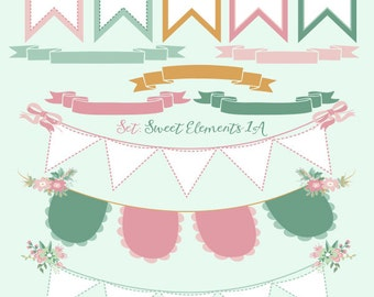 Digital Clipart Elements Bunting Banner Flags Ribbon Banners Pastel Clip Art Embellishment Commercial Use JPG PNG Sweet Elements 1