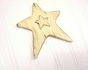 CHRISTMAS STAR Ornament, Shabby Chic Holiday, Rustic Wedding Decor, Primitive Cottage