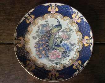 Vintage English Blue Peacock Lunch Dinner Plate circa 1970's / English Shop