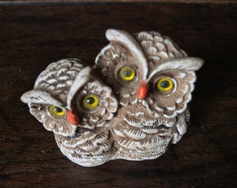 Vintage English Resin Tiny Owls Owl Bird Figurine Ornament circa 1970's / English Shop