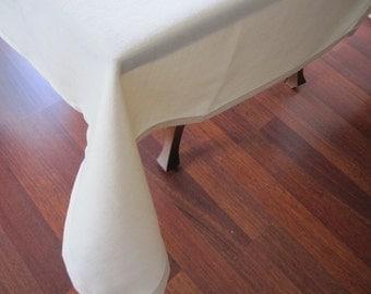 Custom tablecloth 80 90 120 inch large wide linen rectangle oval round white ivory shabby chic Holidays entertaining table cloth Nurdanceyiz