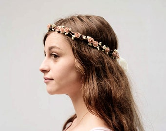 Vintage Pink and Ivory Rose Crown, Delicate Flower Girl Crown, Bridal Headpiece, Pink Flower Crown, Bridesmaids Gifts, Soft Pink, B02