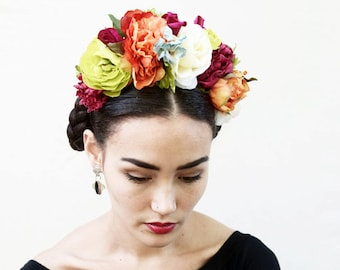 Day of the Dead Headpiece, Frida Kahlo Flower Crown, Mexican, Floral Crown, Headband, Dia de los Muertos, Floral Crown, Costume, Crown, Boho