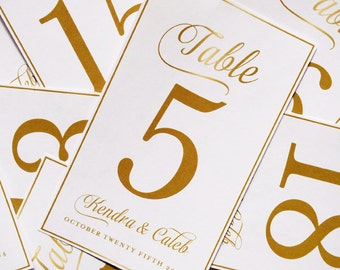 Customizable Gold Wedding Wine Bottle Labels as Table Numbers