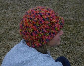 women's crochet hat//chunky//multicolored//women's winter hat