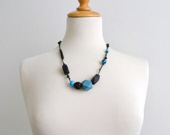 SALE clearance teal and black chunky beaded necklace unique artisan necklace - one of a kind boho deep ocean teal and black - gift for her