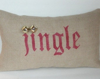 Finished Beige Burlap Jingle Bell Christmas Pillow 10 x 16