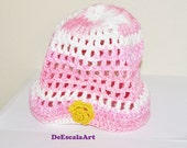 Spring Hat/Beanie, Pink Colors, Floral Crochet Hat, Spring Accessory, Hand Made in the USA