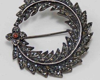 Vintage Sterling Silver Marcasite Circle Wreath Pin, Lapel Pin, Coat pin
