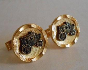 Vintage Cufflinks, Goldtone Wells Fargo and Company Stagecoach Cufflinks, Mens Gift