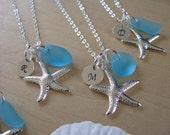 Sea glass jewelry for Beach Wedding blue sea glass necklace bridesmaid jewelry seaglass aqua bridesmaid necklace bridesmaid gift