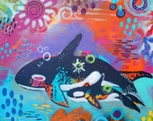 Mixed Media Orca Whale and baby - Art Print