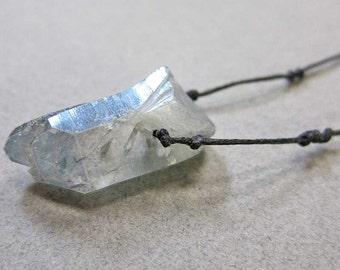 """Raw Crystal Necklace, Raw Stone Jewelry, Crystal Point Necklace, Blue Rock Crystal Necklace, Raw Gemstone, 30"""", Blue Raw Quartz Necklace"""