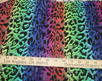 Gradation Rainbow Cheetah French Terry Knit Fabric