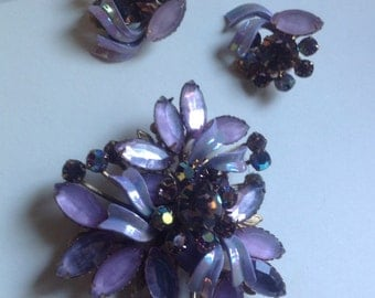 Lilac rhinestone and crystal ab floral brooch and earrings        VJSE