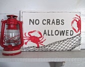 """Nautical, """"No Crabs Allowed,"""" Hand Painted Wood Sign, Red Crabs, Netting, Indoor/Outdoor."""