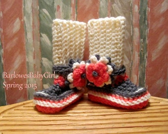Buggs - Crochet Baby Booties in Ivory, Grey, and Melon w/ Detachable Three Tier Flower Accent