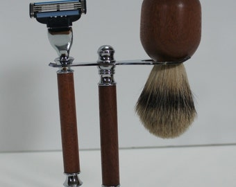 Shaving set, brush, stand and razor, silvertip, cabreuva, chrome