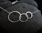 Silver Linked Circles Necklace in Sterling Silver,Mother's Day Gifts, three circles, entwined circles, wedding gift, bridesmaid gift