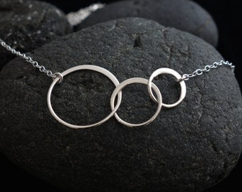 Silver Linked Circles Necklace Sterling Silver three circles entwined circles wedding gift bridesmaid gift